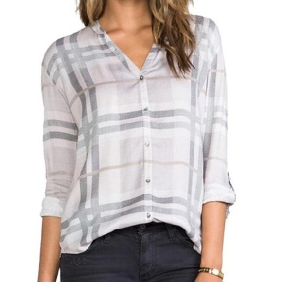 f09bc4ae Joie Tops   Soft Grey Dane Button Up Plaid Shirt   Poshmark
